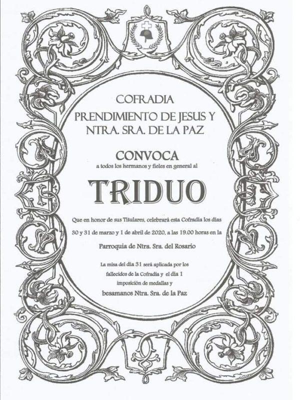 Cartel Triduo 2020 Cofradía del Prendimiento y Nuestra Señora de la Paz
